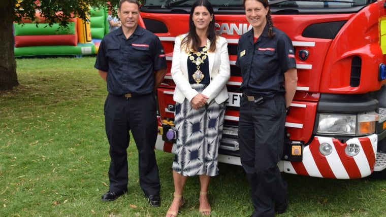 Mayor Kath Hay with the fire rescue team