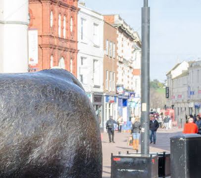 Bronze Bull Statue In Hereford City Center