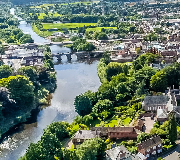 The River Wye & Old bridge from the sky