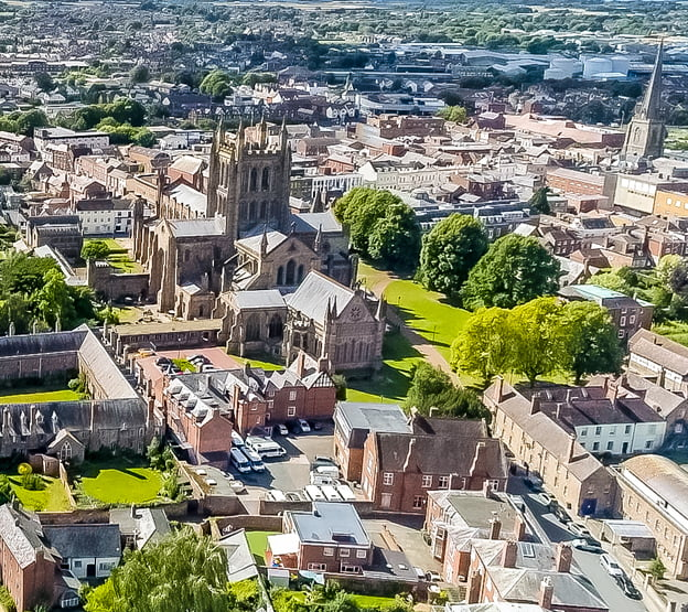 Hereford Cathedral from the sky